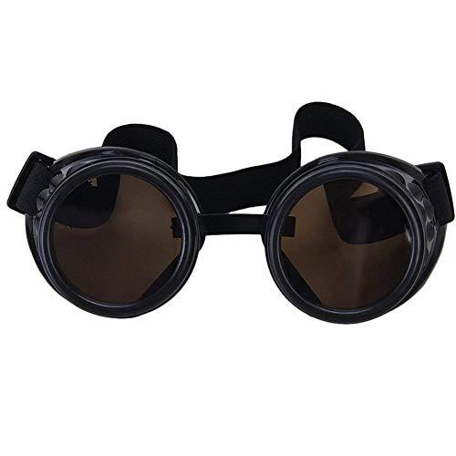 ZYCX123 Neuheit Brille Steampunk Schweißen Goth Cosplay Weinlese Goggles windundurchlässiges Rustic Retro Brille(Schwarz)