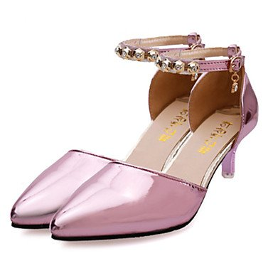 LvYuan Damen-Sandalen-Lässig-Glanz-Niedriger Absatz-Komfort-Rosa Lila Silber Gold Purple