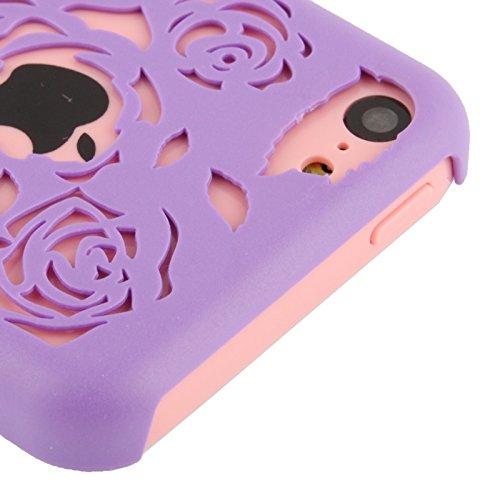 Wkae Case & Cover hollow sculpté pour iphone 5 rose en plastique ( Color : Fluorescent Green ) Purple