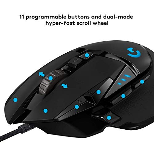 d8dbe370e56 Logitech G502 HERO Gaming Mouse with HERO Sensor (RGB Mice, 16'000 DPI, 11  Programmable Buttons, Laptop PC Computer Mouse, 5 Adjustable Weights, ...