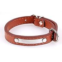 Happy-little-bear Collar de Cuello de Hierro con Letras de Perro de Lentejuelas de PU (marrón S)