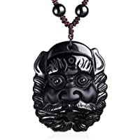 clin-yy Halskette mit Anhänger aus natürlichem Obsidian Jambhala Buddha Reichtum Gott sitzen Löwe preisvergleich bei billige-tabletten.eu