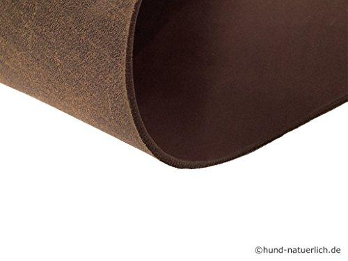 hund-natuerlich Fettleder Zuschnitt Rindsleder 3,5mm-4,0mm Blankleder Dickleder (40cm x 10cm, braun) Leder Haut
