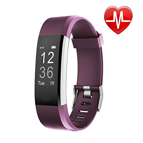 Letsfit Schrittzähler Uhr, Fitness Tracker mit Pulsmesser Schlaf-Monitor Wasserabweisend in versch. Farben, violett
