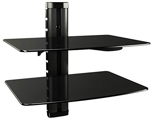 RICOO HiFi Rack DVD-B2XL Multimedia Regal aus Glas - Schwarz mit Kabelkanal & Höhenverstellbar | 2 Ablagen Wandboard für TV Zubehör Lautsprecher Boxen Receiver Beamer