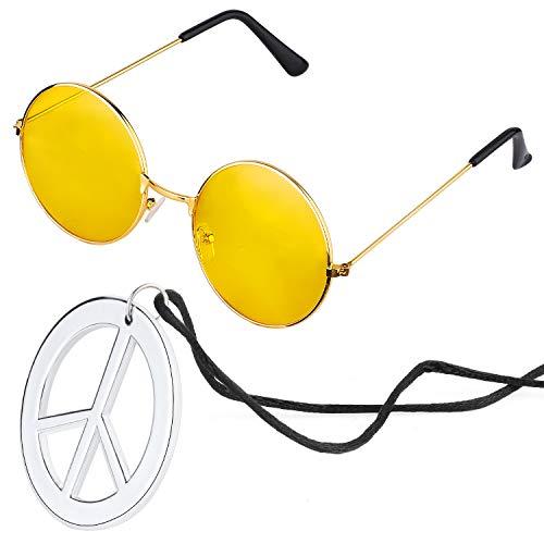 Beelittle Hippie Kostümzubehör für Herren und Damen - Retro John Lennon Hippie 60er Jahre Kreis Brille Friedenszeichen Halskette (Gelb)