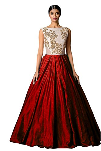 Clickedia Women's and Girls Bhagalpuri Silk Red & White Semi - Stitched floor length Gown  available at amazon for Rs.199