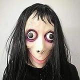 Headgear_horror bar Grimace ragazza con gli occhi grandi maschera per la vita reale pelle umana con cappuccio maschera in lattice Dance party divertente