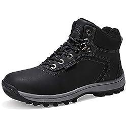 AX BOXING Hombre Botines Zapatos Botas Nieve Invierno Botas Impermeables Fur Forro Aire Libre Boots (44 EU, A7445-Negro)