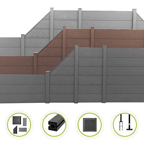 HORI® WPC-Zaun XXL l Sichtschutz-Zaun, Steckzaun, Gartenzaun Komplettset l zum einbetonieren I Braun