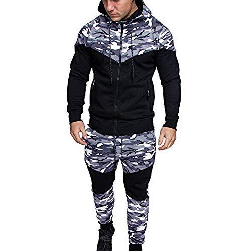 Malloom Chándal de otoño Invierno Hombres Traje de Deportiva Hombres Camuflaje Sudadera + Pantalones Conjuntos