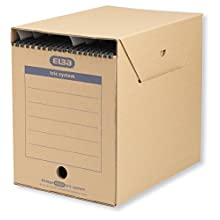 Elba Maxi 83525 Hanging Filing Box for Systematic Filing with Tabs Tric System 6 Piece Set Natural Brown