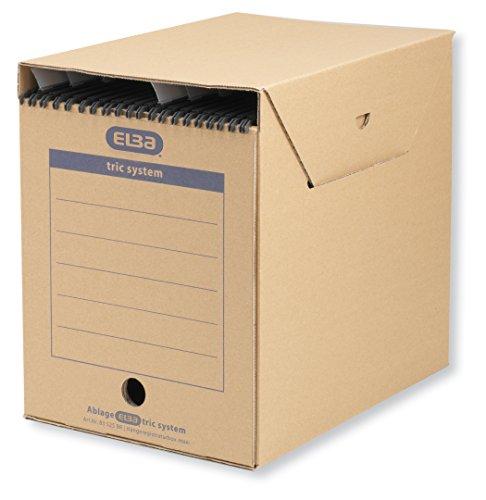 ELBA 100421090 Hängeregistratur-Box tric system Maxi 6 Stück für Systemregistraturen mit Reitern naturbraun Archivschachtel Archivbox