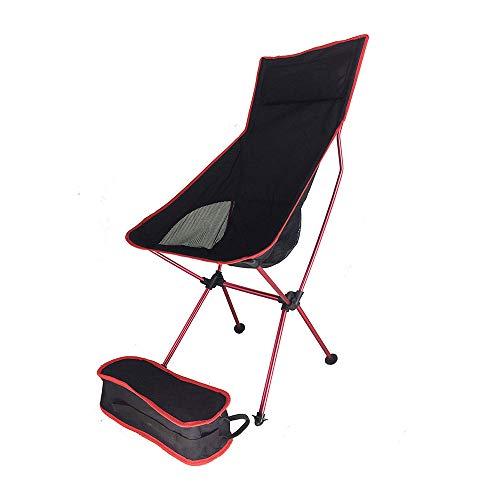 HUACANG Chaise De Plage Ultralégère en Alliage D'aluminium Portable en Plein Air Pêche De Loisir Chaise Pliante Tissu en Mesh Respirant Et Sac De Rangement pour Chaise (Couleur : Rouge)
