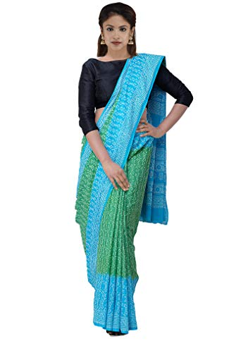 Unnati Silks Women Green and Blue Pure Jaipuri Cotton Saree with blouse piece from the Weavers of Rajasthan (UNM28694+Green+Free size)