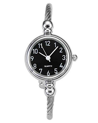 JSDDE Uhren Vintage Damen Armbanduhr Chic Manschette Damenuhr Spangenuhr Rund Armreifen Armkette Uhr Quarzuhr Kleideruhr für Frauen Silber-Schwarz