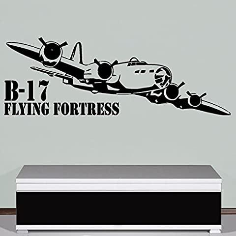 B de 17 Flying Fortress Bomber USAF United States Army Air Forces Papier peint Stickers Décoration Murale (Noir, 41 x 120 cm) – Sticker mural/tableau mural # A609