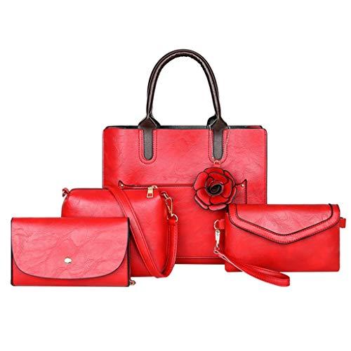 TIFIY Damen Rucksack 4pcs Frauen-Blumen-Leder-Griff-Beutel-Schulter-Beutel-Karten-Paket Crossbody Beutel Arbeits Täglich Bankett Elegant Tasche(Rot) -