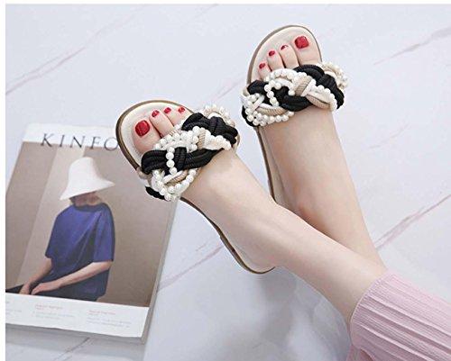 NobS Donna Rilievo Canapa Dei Sandali Di Corda Di Perle Piatte Scarpe Pantofole meters white