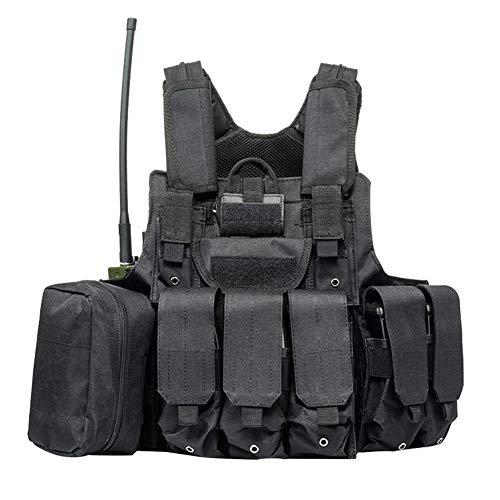 QP Taktische Weste Multifunktions Weste Feld Kampf Überleben Training Bergsteigen Schießen Selbstverteidigung Schutzausrüstung Wandern Tarnung Schwarz Grün,Black