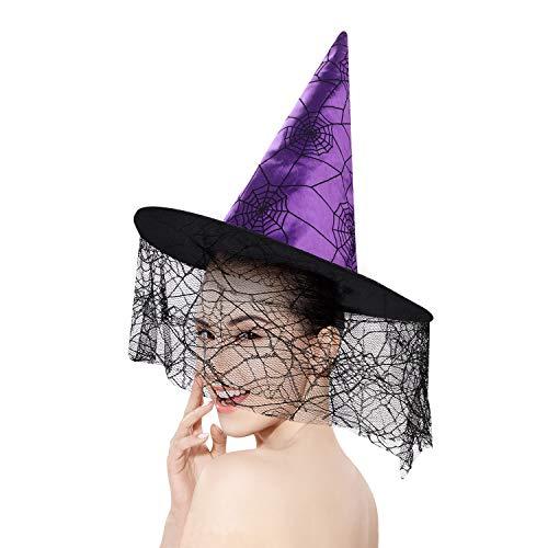 Kostüm Garten Elfen - IBLUELOVER Hexenhut Zauberer Hut mit Schleier Augapfelbrille Tassel Halloween Kostüm Zombie Hexe Cosplay Karneval Party Verformbarer Kappe Schwarz Hexenmeister Zubehör für Damen Herren