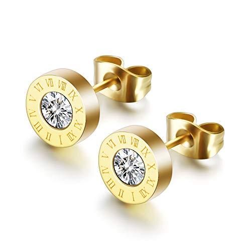 O'range-zi Pendientes de Acero Inoxidable Arete (3 Pares) para Hombres y Mujeres – Pendiente del Perno Prisionero Piercing antialérgico Diamante de imitación 8mm (Oro)