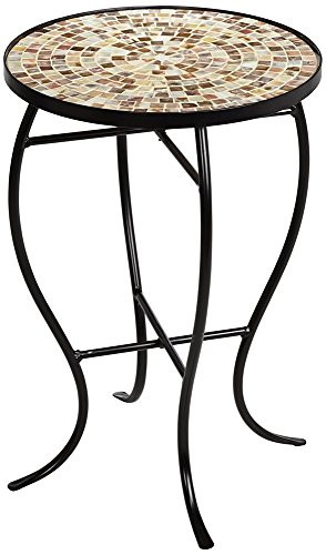 Mother of Pearl Mosaic Black Iron Outdoor Accent Table by Teal Island Designs