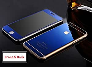 Gizmocare Blue Tempered Glass / Screen Protector for Apple iPhone 6 - Electroplated Mirror Finish - Front & Back Side Glass - 9H 2.5D Shatterproof Glass - Premium Quality Scratch Guard - 100% Money Back Guarantee - 1 Year Seller Warranty