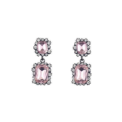 Beautifulchen Hot Pink Edelsteine   Square Diamond 925 Silber Nadel Ohrringe/Ohr Knochen Clips Hot Pink Plaid Design