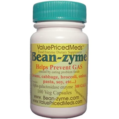 Bean-zyme Anti-Gas Digestive Aid, 100 VEGAN Capsules, Food Enzyme Dietary