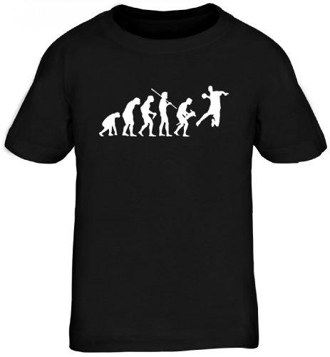 Shirtstreet24, EVOLUTION HANDBALL, WM EM Sport Kinder Fun T-Shirt , Größe: 152/164,schwarz (T-shirt Em Schwarzes)