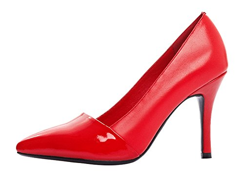 Guoar High Heels Damenschuhe Große Größe Spitze Zehen Contrast Color Stiletto Pumps Büro-Dame Party Hochzeit Rot