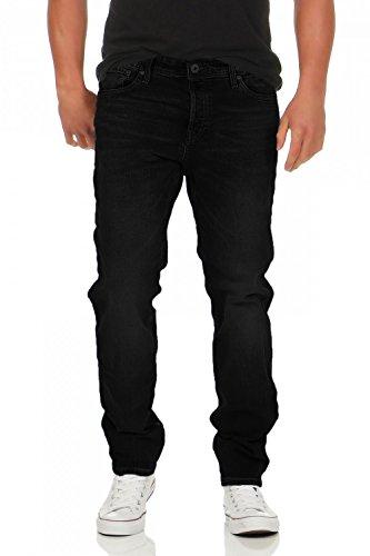 JACK & JONES - MIKE ORIGINAL - Comfort Fit - Herren Jeans Hose, Farbe:Schwarz (Black);Hosengröße:W36/L32 (Geprägte Elasthan Jeans)