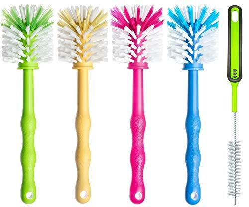 Reinigungsbürste 5er Set - Spülbürste für Mixtopf und Mixmesser - Ideales Zubehör zum Reinigen von z.B. Thermomix ® TM5 / TM31 / TM 21 - je (1x Grün/ 1x Gelb /1x Pink/ 1x Blau/ 1x Grün)