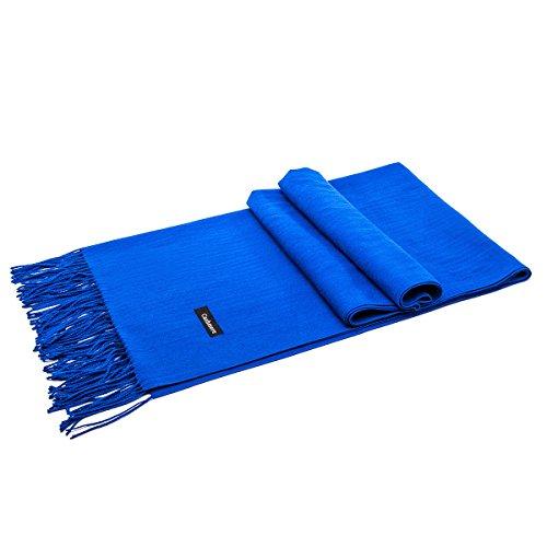 LeKuni Schal Damen Herren Unisex Kaschmir-Mischung Modeschal Pashmina langer Cashmere weicher warmer modischer Cape Umhang Unifarben,Blau