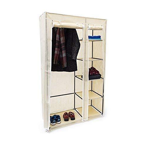 Relaxdays Faltschrank VALENTIN XL HxBxT: 174x107x42,5 cm Stoffschrank aus Vlies mit Reißverschluss zur staubfreien Lagerung faltbarer Kleiderschrank mit 5 Ebenen als Zelt-Schrank zum Camping, beige