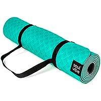 121PERFORM SOUL VIBE - Esterilla de yoga de TPE (0,6 cm, antideslizante, buena agarre, respetuosa con el medio ambiente, apta para fitness/pilatos/correas incluidas), color verde, tamaño 183 x 60 x 0.6 cm, 68.11 x 23.62 x 0.24inches
