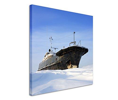 Fotokunst quadratisch 60x60cm Landschaftsfotografie – - Frost Eisbrecher