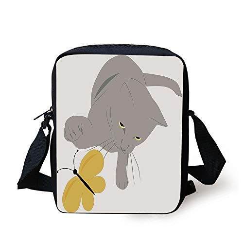 CBBBB Grey and Yellow,Cat Pet Feline Best Friend Playing with Spring Butterfly Print,Black Marigold and Grey Print Kids Crossbody Messenger Bag Purse