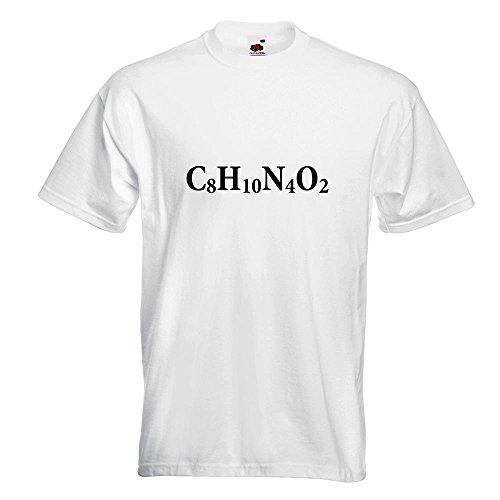 KIWISTAR - C8H10N4O2 Coffein - Koffein T-Shirt in 15 verschiedenen Farben - Herren Funshirt bedruckt Design Sprüche Spruch Motive Oberteil Baumwolle Print Größe S M L XL XXL Weiß