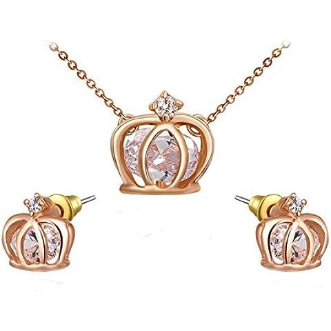 Ciondolo da donna placcato oro rosa 18kt Genuine austriaco intarsiato collana e orecchini a forma di corona