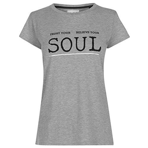 Miso Donna T-Camicia Set da Pigiama Grigio/Nero