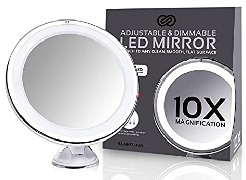 Sanheshun Makeup Mirror 10X Magnifying Lighted Compact Mirror with Suction Base , Round