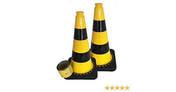 Pylonen Absperrband gelb schwarz geblockt 80 mm breit 100m inkl 2 St/ück UvV-Flex Leitkegel gelb schwarz als Absperrset