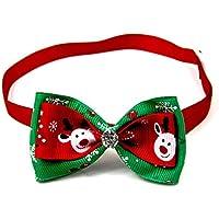 Toruiwa 1X Weihnachten Fliege mit künstlicher Strass Haustier Hund Katze Bowtie Einstellbare Krawatte Kragen Hunde Katzen Halsband Dekoration Bow Tie Collar (C)