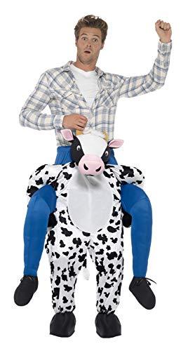 Ihr Kostüm Erwachsenen Für Material Strut - Smiffys Herren Huckepack Kuh Kostüm, Einteiler mit Beinen, One Size, Schwarz und Weiß, 24659