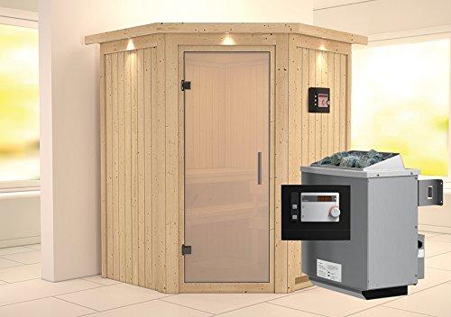 Karibu Sauna Larin inkl. 9-kW-Bioofen mit externer Steuerung, mit Dachkranz, mit satinierter Saunatür