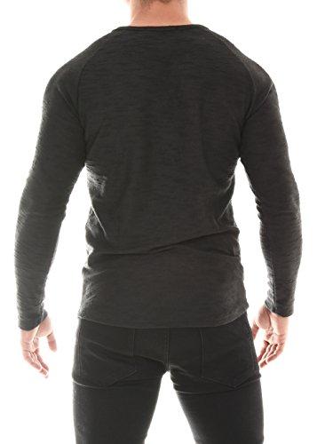 COEN BALE Herren T-Shirt Feinstrick Pullover Pulli Langarm Regular Fit Rundhals mit Knopfleiste Aus Hochwertiger Baumwollmischung Meliert Gym Fitness Trainingsshirt Training Schwarz