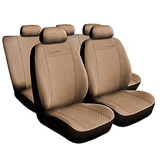 Universal Beige Polyester Sitzbezüge Komplettset Sitzbezug für Auto Sitzschoner Set Schonbezüge Autositz Autositzbezüge Sitzauflagen Sitzschutz Prestige