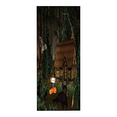 dalongshan Tür Aufkleber Dschungel Lodge Abnehmbare Selbstklebende Tür Aufkleber Tür Wandbild Für Alle Heiligen Tag Dekoration Party 80x215 cm